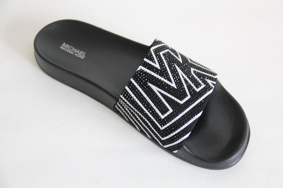 cf6278fe743f Michael Kors Mk Logo Slide Embellished Black Sandals Image 11.  123456789101112