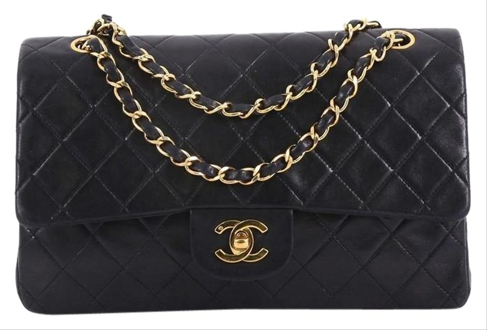 807e1fde7568cd Chanel Classic Flap Vintage Classic Double Quilted Medium Black Lambskin  Shoulder Bag