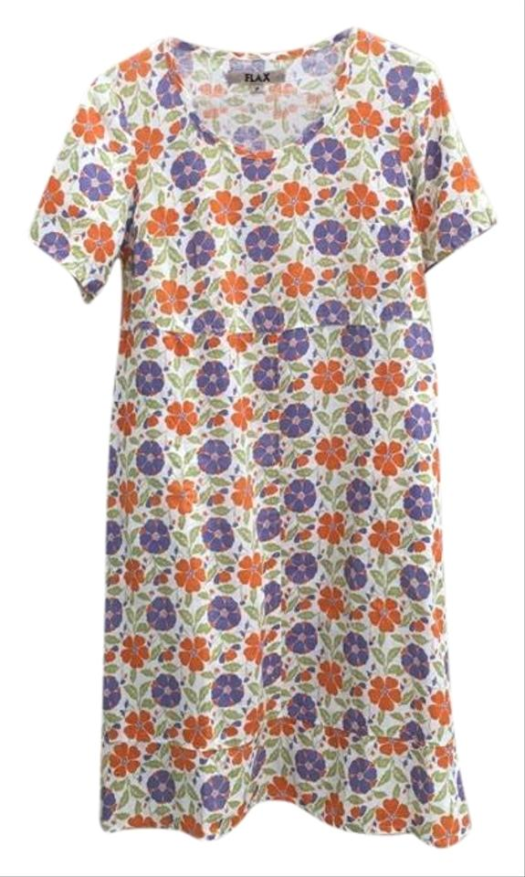 7fdda6c251 FLAX White Orange Purple Floral Print Linen Mid-length Short Casual ...