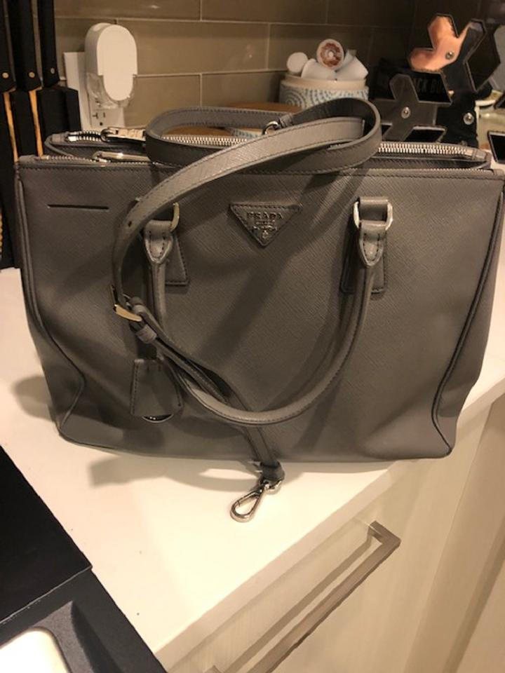 Prada Double Lux Zip Medium Grey Saffiano Leather Tote - Tradesy 7eeb360f79c3f