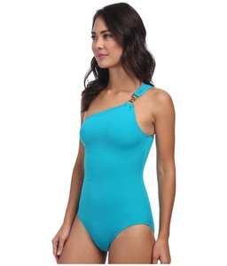 c761432a30 Michael Kors Blue Linked Solids One Shoulder Maillot Tile One-piece Bathing  Suit