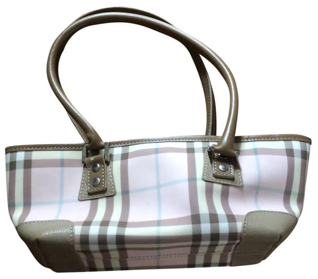 Item - Pastel with Tan Lip Handles and @ Bottom Corners Pink Plaid Baguette