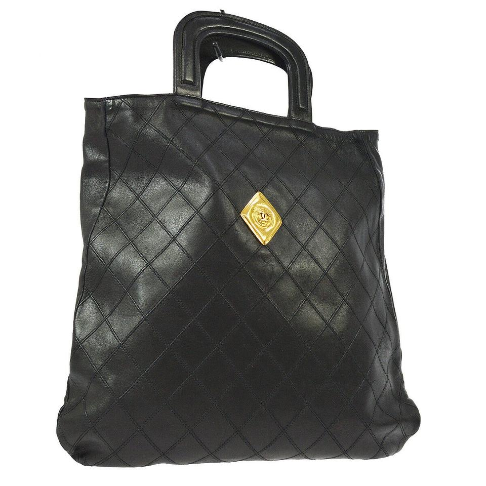 7c291a3fa05 Chanel Large Rare Gold Plague Sac Plat Wild Stitch Black Lambskin Leather  Satchel