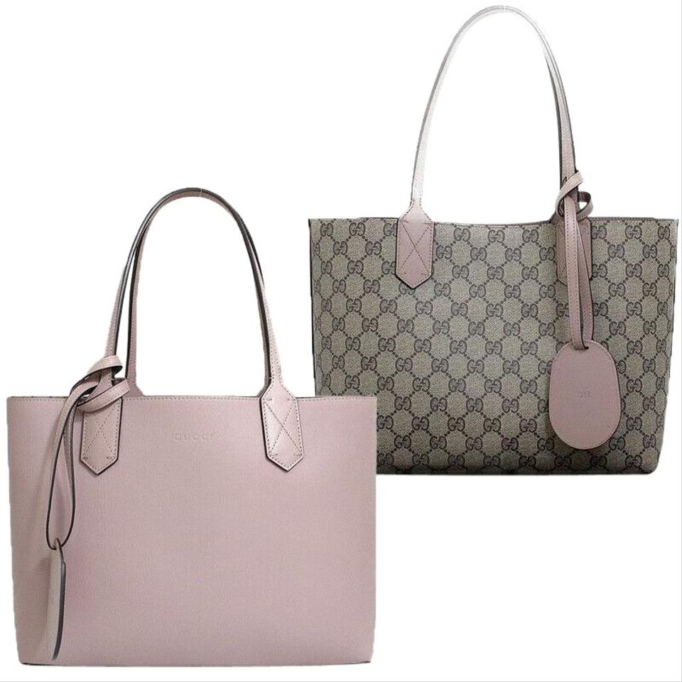 3da6e146a106d8 Gucci Small Gg Reversible Pink Leather Beige Coated Canvas Tote ...