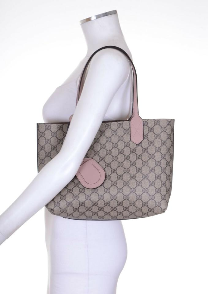 fbe39b4ae79b Gucci Small Gg Reversible Pink Leather Beige Coated Canvas Tote - Tradesy
