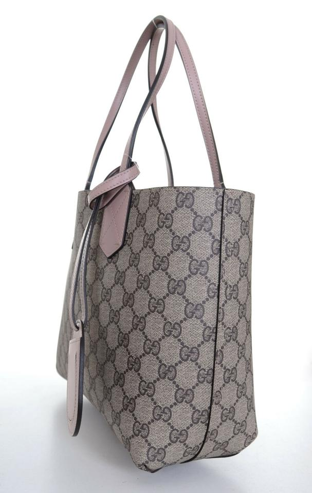 bcc2054a1b07 Gucci Small Gg Reversible Pink Leather Beige Coated Canvas Tote ...