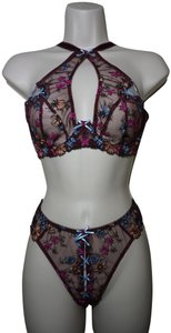 Agent Provocateur Agent Provocateur Bluebelle embroidered bra 34DD and thong sz L NWT