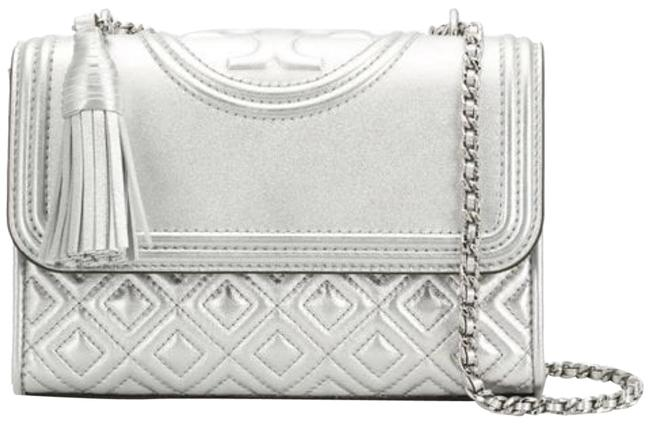 Item - Fleming Shoulder Bag New Purse Small Convertible Silver Leather Tote