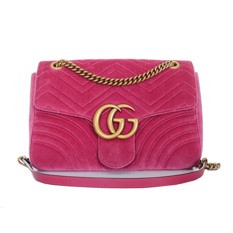 dd013d09cfc1 Gucci Marmont Matelasse Medium Gg Purse Pink Velvet Shoulder Bag ...