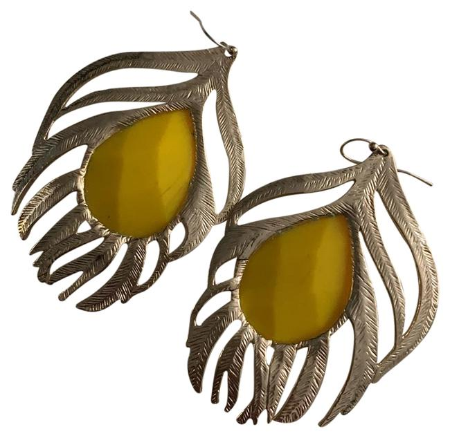 Item - Yellow Stone with Gold Feather Drop Earrings
