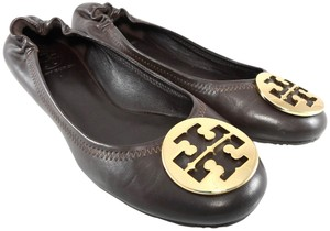 Tory Burch Ballet Leather Signature Medallion Loafer Brown Flats