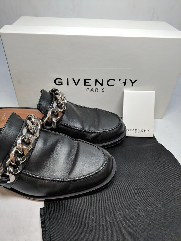 f1812130b914 Givenchy Black Leather Chain Slippers Mules Slides Size EU 39 ...