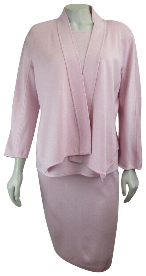 aefab6e19b8f St. John Petal Pink New Wool Blend Cardigan Milano Knit Sma Skirt Suit