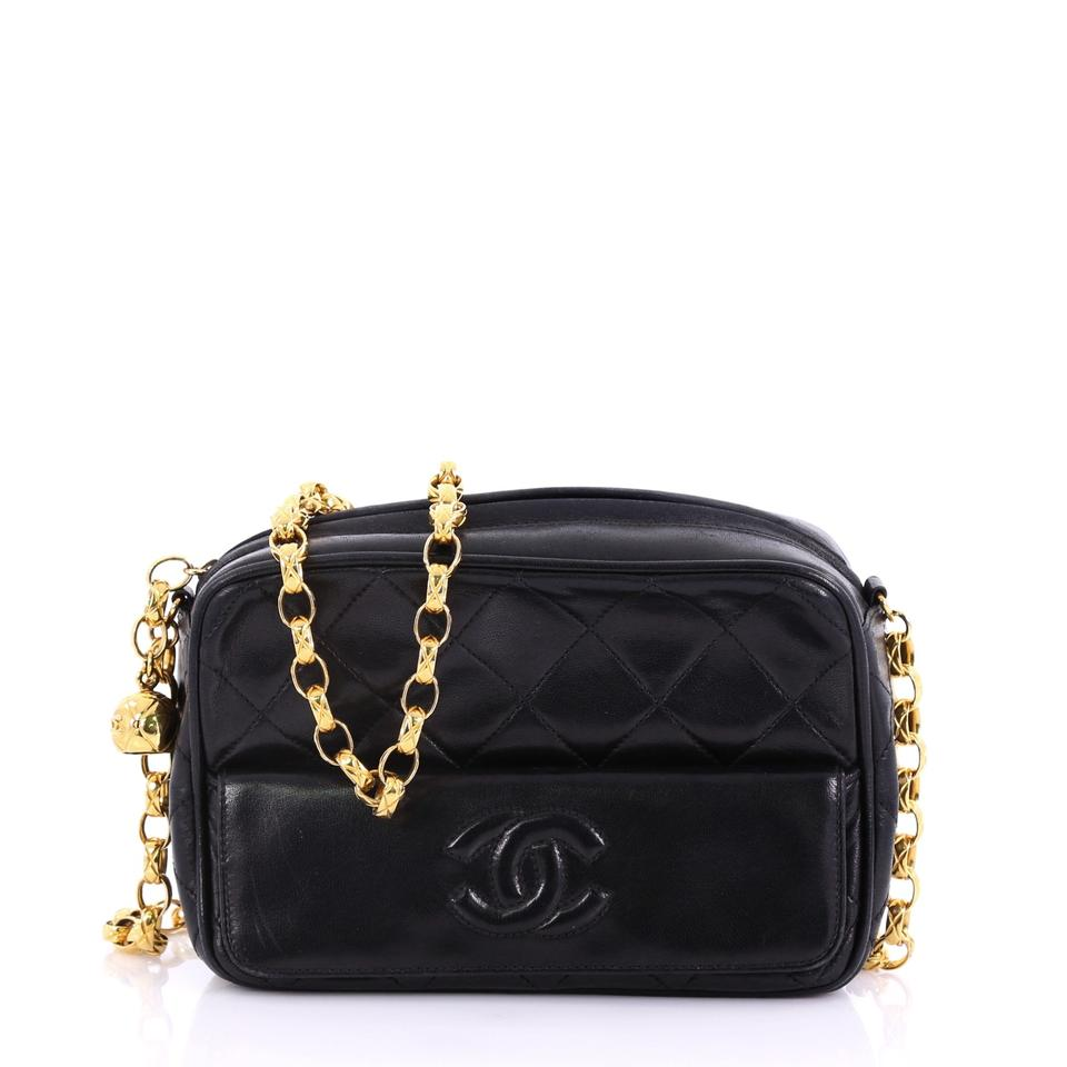 78acf70b77c698 Chanel Camera Vintage Tassel Quilted Mini Black Leather Cross Body Bag