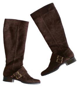6584d451891 Calvin Klein Riding Knee High Knee Suede Preppy Brown Boots
