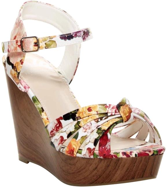 Fergalicious by Fergie White Floral Willa Sandal Wedges Size US 6 Regular (M, B) Fergalicious by Fergie White Floral Willa Sandal Wedges Size US 6 Regular (M, B) Image 1