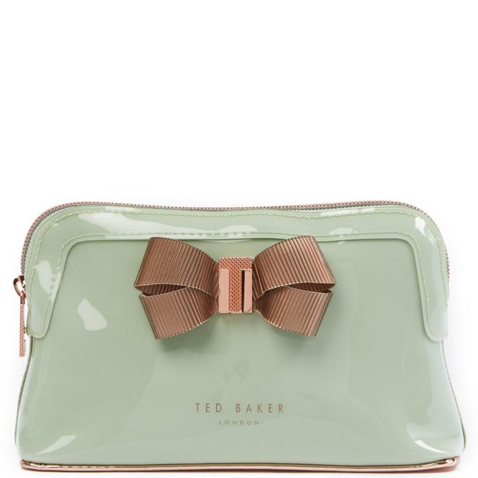 finest selection 237dd f0142 Ted Baker Olive Light Mint Green New Lezlie Bow Makeup Cosmetic Bag