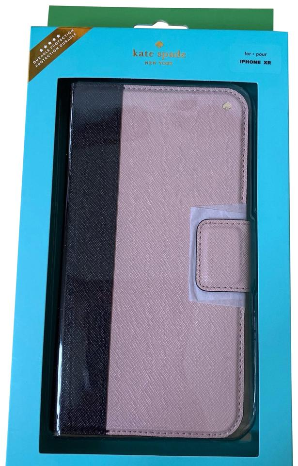 best loved 0a714 b9620 Kate Spade Black/ Almond Iphone Xr -- Colorblock Leather Wrap Folio Case  Tech Accessory 20% off retail