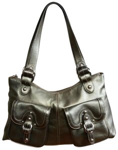 A. Giannetti Buckles Studs Silver Hardware Smooth Leather Shoulder Bag