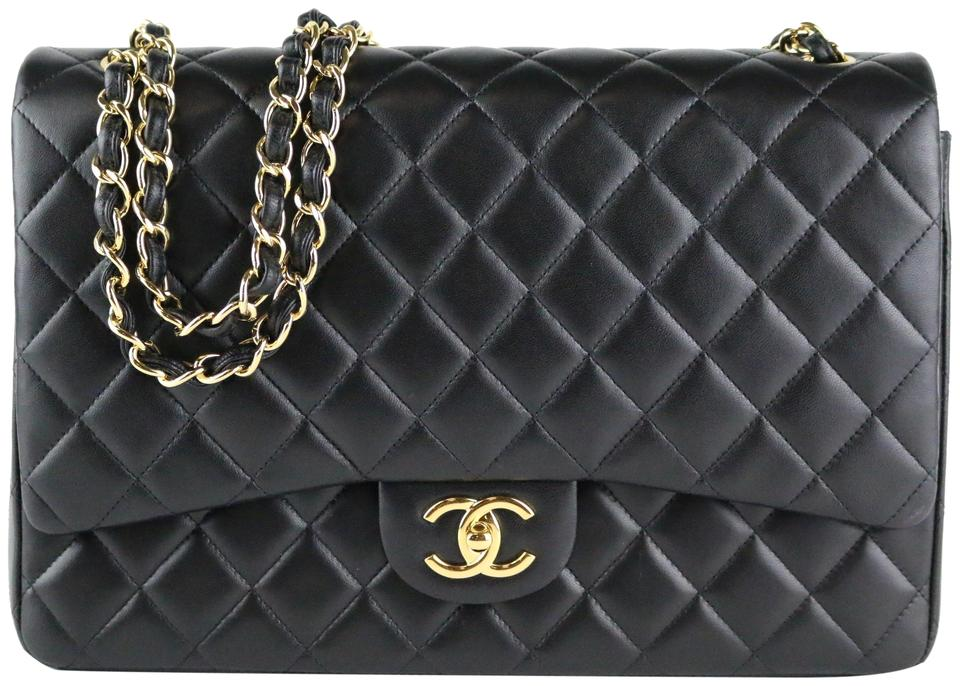 69f5968365b5 Chanel Classic Double Flap Maxi Black Lambskin Leather Shoulder Bag ...
