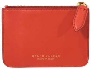 Ralph Lauren Collection NEW RALPH LAUREN Made in Italy Leather Mini Zip Pouch, Blue