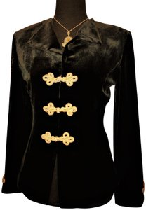 Blunauta Silk & Rayon 2 Pc Blazer/Top Black / Gold Blazer