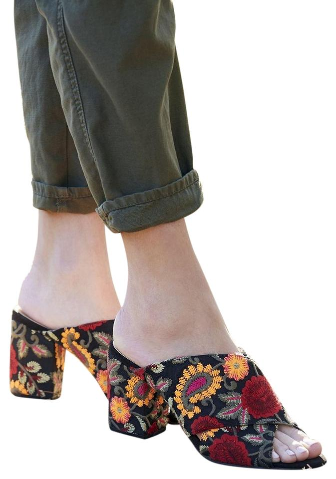 3773263960d7 Sole Society Red On Black Floral Embroidered ~ New ~ Luella ~ Criss Cross Chunky  Heel Mules ~ Sandals