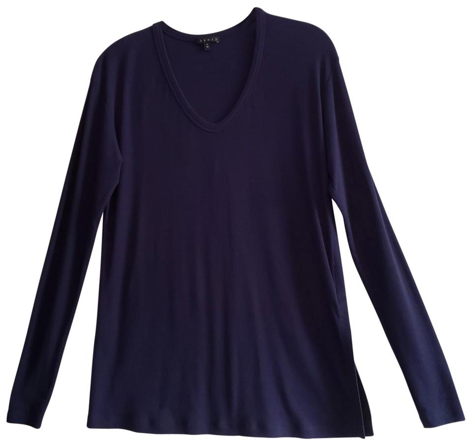 a364e8d2318c Theory New Navy Altha Rib Viscose Long Sleeve One Split Hem Stretch ...