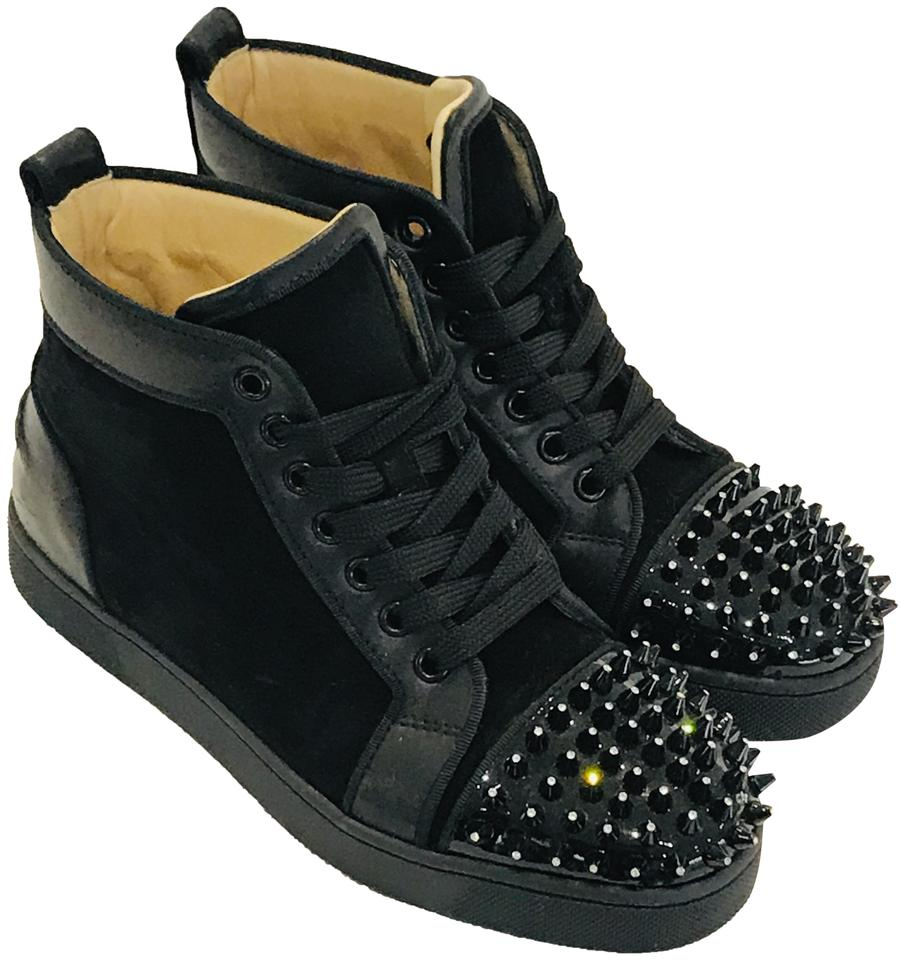 8ee8c6891600 Christian Louboutin Black Louis Spike High-top Sneakers Boots ...