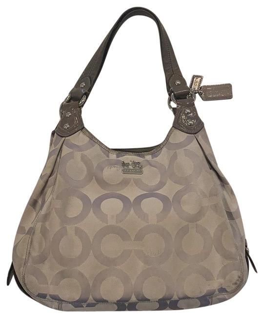 Item - Maggie Madison Op Grey/Silver Canvas & Leather Tote