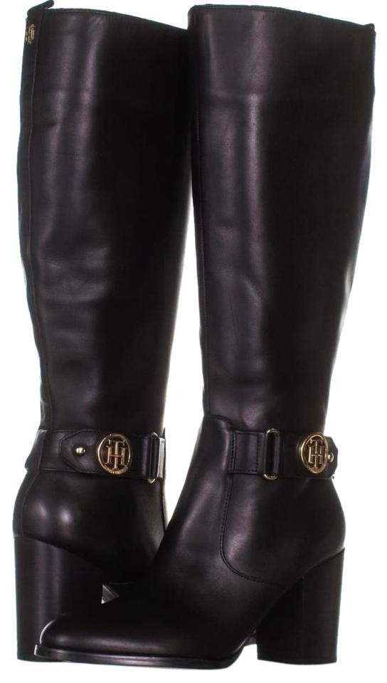 05ea120b0d2 Tommy Hilfiger Black Deeanne Knee High 089 Leather Boots Booties ...