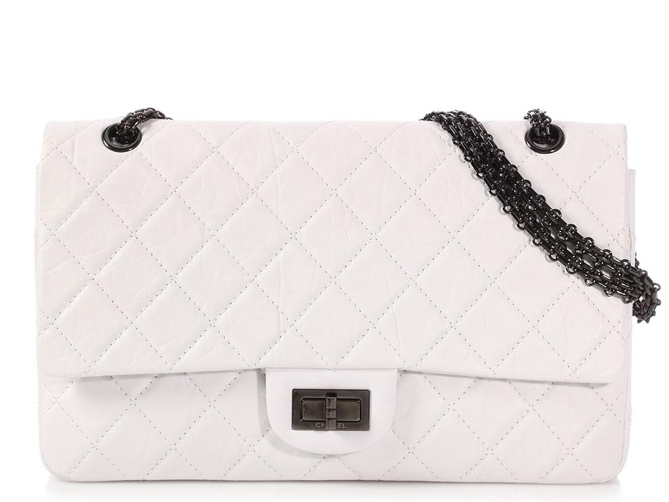 080584cd1f1b Chanel 2.55 Reissue Double Flap **cr**reissue 277 Distressed Quilted White  Calfskin Leather Shoulder Bag