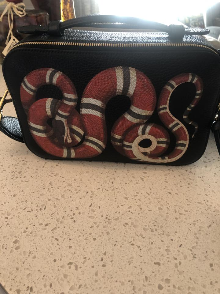 ce094616bad6 Gucci Merveilles Snake Print Black/ Red Lambskin Leather Cross Body Bag -  Tradesy