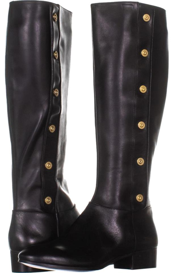 d4a3b6587b0 Nine West Black Oreyan Knee High Riding 945 Leather Boots Booties ...