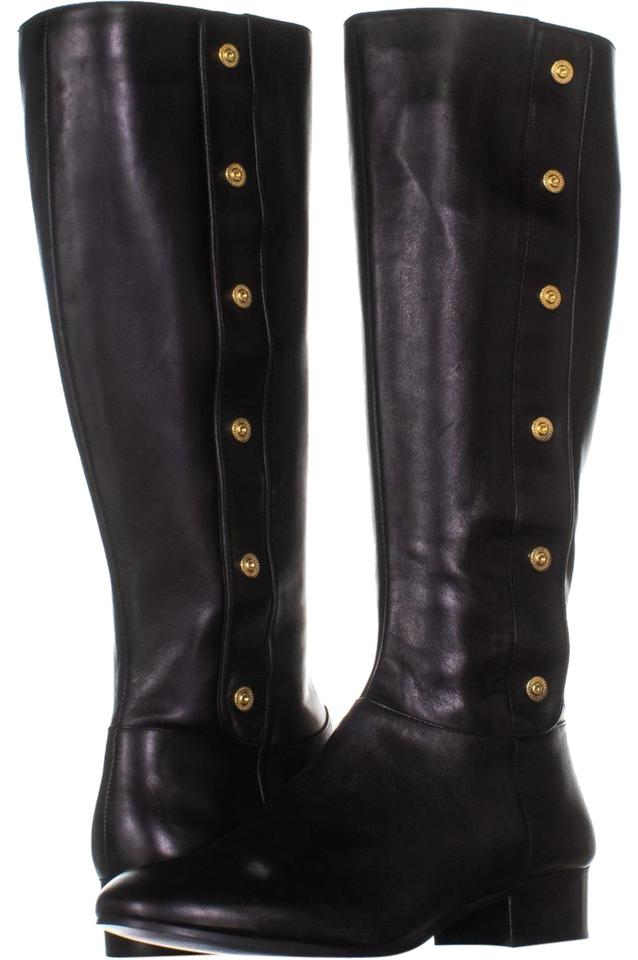 311a65cb089 Nine West Black Oreyan Knee High Riding 943 Leather Boots Booties ...