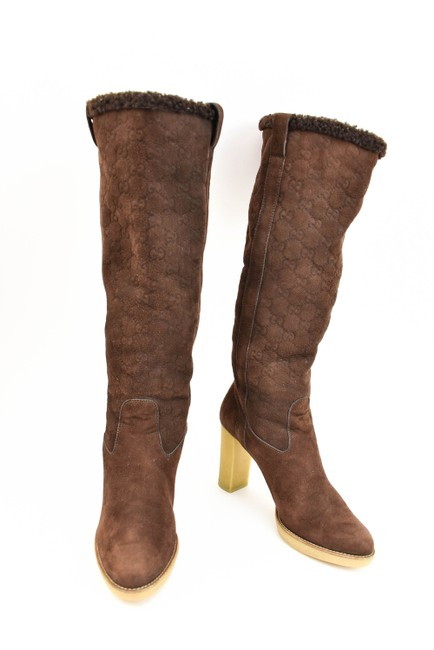 "Item - ""ssima"" Brown Leather ""Gg"" Logo Shearling Tall Boots/Booties Size EU 39.5 (Approx. US 9.5) Wide (C, D)"