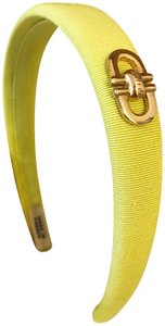 Céline Ultra Ultra Rare Vintage Lime Green Fabric and Gold Headband