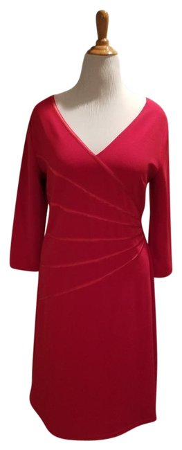 Item - Red Mid-length Short Casual Dress Size 14 (L)