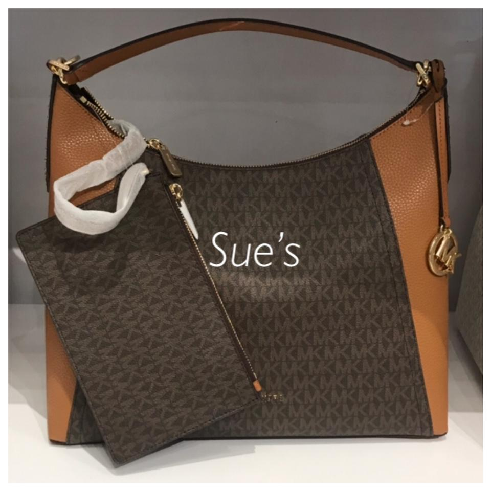 6f424ed203ac1c Michael Kors Mk Kimberly Large Studded with Pouch - Brown Shoulder ...