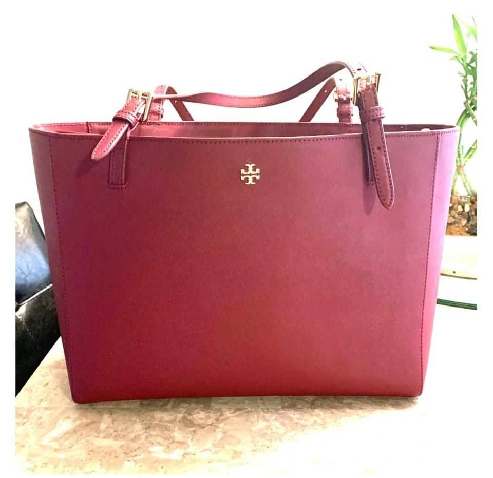 fd8d65ba50cd Tory Burch Emerson Large Buckle Burgundy Genuine Leather Tote - Tradesy