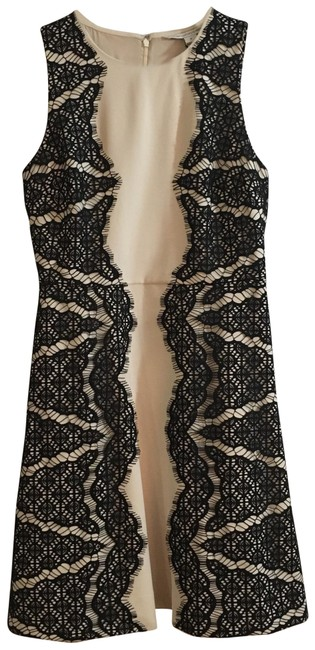 Item - Black Lace/ Beige Daniella Sleeveless Lace-panel Mid-length Cocktail Dress Size Petite 6 (S)