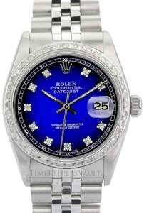 Rolex Rolex Mens Datejust Blue Diamond Dial Diamond Bezel 36mm Watch