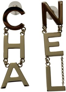 Chanel Chanel RUNWAY CHA NEL Large Letter Logo Gold Statement Earrings