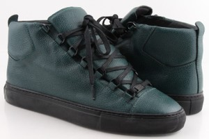 Balenciaga Green Pebbled Leather Sneakers Shoes