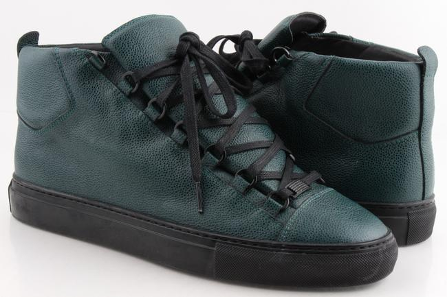 Item - Green Pebbled Leather Sneakers Shoes