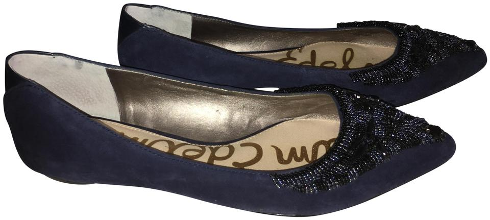 f1b029925e4d Sam Edelman Beaded Pointed Toe Suede Navy Flats Image 0 ...