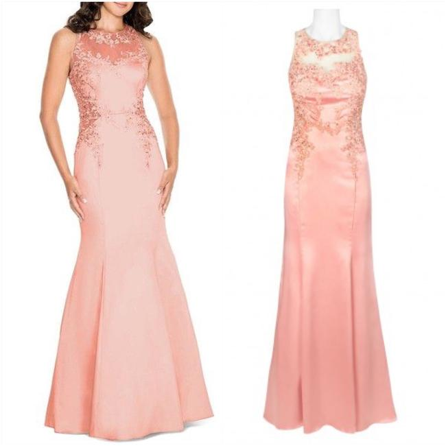 Item - Apricot Embellished Satin Gown ( Long Casual Maxi Dress Size 8 (M)
