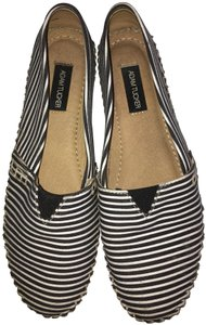Adam Tucker Soft Canvas Black Strips Flats