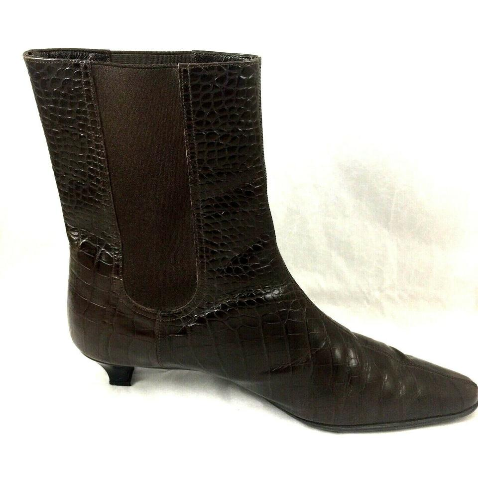 0a879bc79 Salvatore Ferragamo Brown Point Toe Croc Embossed Ankle Leather  Boots/Booties Size US 8.5 Regular (M, B) - Tradesy