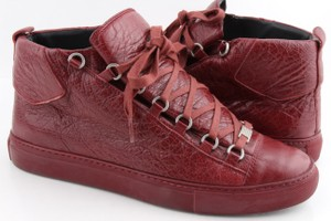 Balenciaga Red Creased Leather Sneakers Shoes